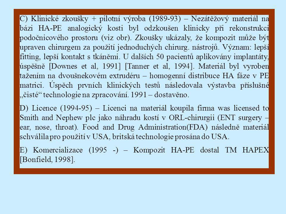 """C) Klinické zkoušky + pilotní výroba (1989-93) – Nezátěžový materiál na bázi HA-PE analogický kosti byl odzkoušen klinicky při rekonstrukci podočnicového prostoru (viz obr). Zkoušky ukázaly, že kompozit může být upraven chirurgem za použití jednoduchých chirurg. nástrojů. Význam: lepší fitting, lepší kontakt s tkáněmi. U dalších 50 pacientů aplikovány implantáty, úspěšně [Downes et al, 1991] [Tanner et al, 1994]. Materiál byl vyroben tažením na dvoušnekovém extrudéru – homogenní distribuce HA fáze v PE matrici. Úspěch prvních klinických testů následovala výstavba příslušné """"čisté technologie na zpracování. 1991 – dostavěno."""